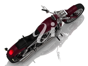 Motorcycle with a chrome engine on white background. Top view