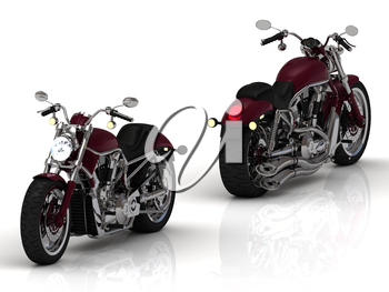Two motorcycles with a chrome engine and exhaust on white background