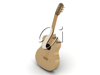 Gold Acoustic guitar made with golden strings on white background