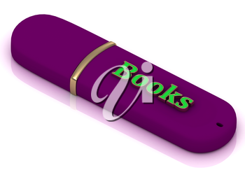 Books - inscription bright volume letter on lilac USB flash drive on white background
