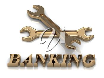 BANKING- inscription of metal letters and 2 keys on white background