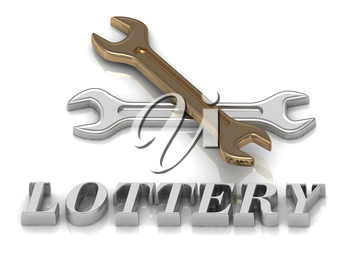LOTTERY- inscription of metal letters and 2 keys on white background