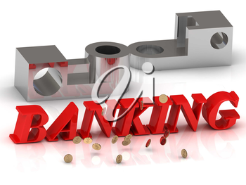 BANKING- inscription of red letters and silver details on white background