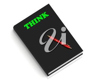 THINK- inscription of green letters on black book on white background