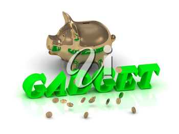 GADGET- inscription of green letters and gold Piggy on white background