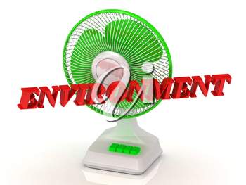 ENVIRONMENT- Green Fan propeller and bright color letters on a white background