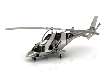 helicopter silver isolated under the white background