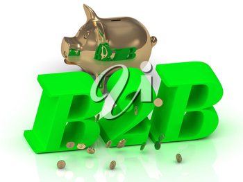 B2B - big bright green word, gold Piggy and money on white background