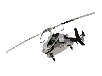 ARMY Silver helicopter with working propeller front view isolated on white