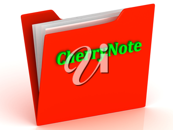 CherryNote- bright green letters on a gold folder on a white background
