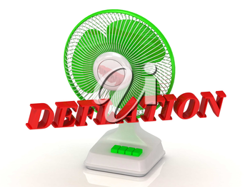 DEFLATION- Green Fan propeller and bright color letters on a white background