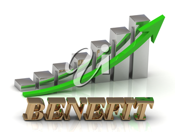 BENEFIT- inscription of gold letters and Graphic growth and gold arrows on white background