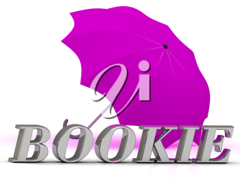 BOOKIE- inscription of silver letters and umbrella on white background