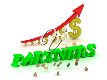 PARTNERS- bright color letters and graphic growing dollars and red arrow on a white background
