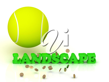 LANDSCAPE- bright green letters, tennis ball, gold money on white background