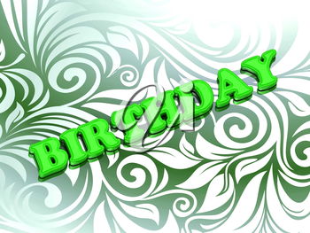 BIRTHDAY - bright color letters on nice green ornament background