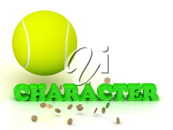 CHARACTER- bright green letters, tennis ball, gold money on white background