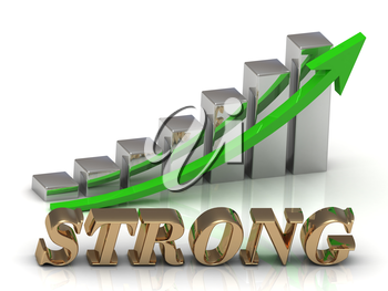 STRONG- inscription of gold letters and Graphic growth and gold arrows on white background