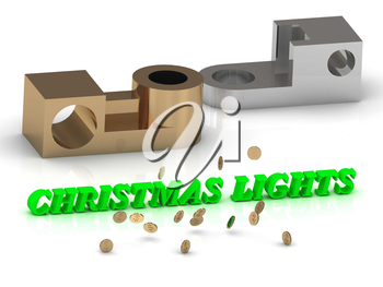 CHRISTMAS LIGHTS - words of color letters and silver details and bronze details on white background