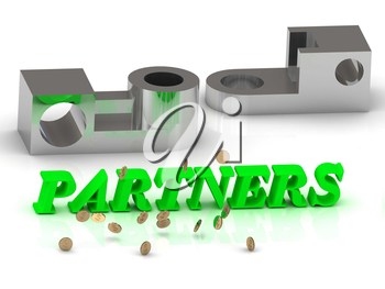 PARTNERS- words of color letters and silver details on white background