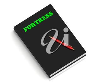 FORTRESS- inscription of green letters on black book on white background