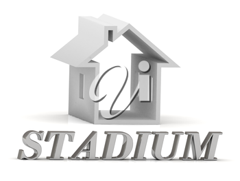 STADIUM- inscription of silver letters and white house on white background