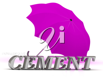 CEMENT- inscription of silver letters and umbrella on white background