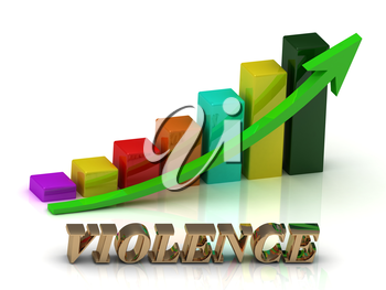 VIOLENCE bright of gold letters and Graphic growth and green arrows on white background