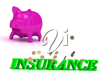 INSURANCE Name and Family bright word, pink piggy on white background