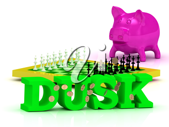 DUSK bright word, money, pink piggy, yellow chess on white background