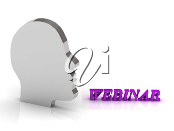 WEBINAR bright color letters and silver head mind on a white background