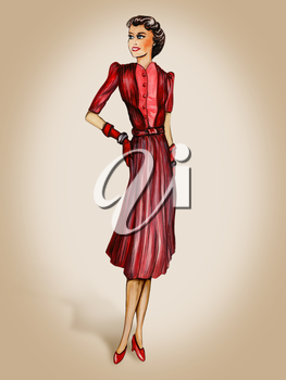 Royalty Free Clipart Image of a Woman in a Dress