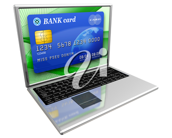 Royalty Free Clipart Image of a Laptop with a Credit Card on the Screen