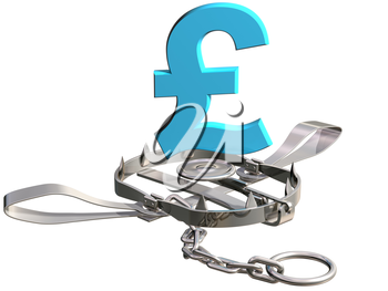 Royalty Free Clipart Image of a Bear Trap with a British Pound