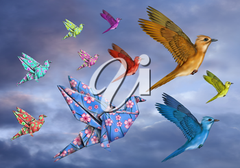 Royalty Free Clipart Image of a Birds Flying in the Sky