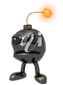 Royalty Free Clipart Image of a Cartoon Bomb with a Fuse