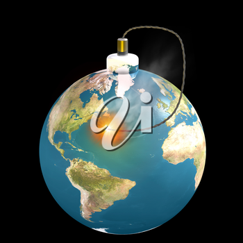 Royalty Free Clipart Image of a Bomb in the Shape of the World
