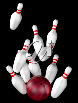 Royalty Free Clipart Image of a Bowling Ball with Pins