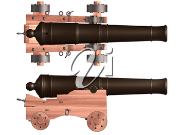 Royalty Free Clipart Image of Cannons on Wooden Holders with Wheels
