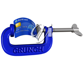 Royalty Free Clipart Image of a Bank Card in a Clamp