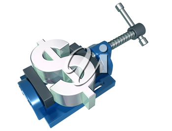 Royalty Free Clipart Image of a Dollar Sign in a Clamp