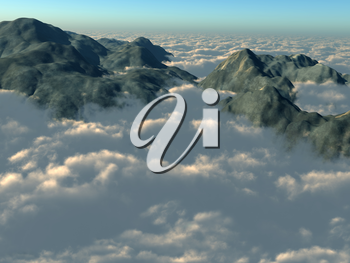 Royalty Free Clipart Image of Mountain Tops with Clouds
