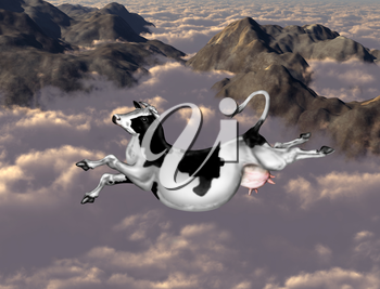 Royalty Free Clipart Image of a Cow Jumping Over the Clouds
