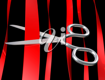 Royalty Free Clipart Image of a Pair of Scissors Cutting Through Ribbon