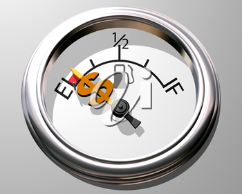 Royalty Free Clipart Image of a Fuel Gauge Showing Empty with a Dollar Sign