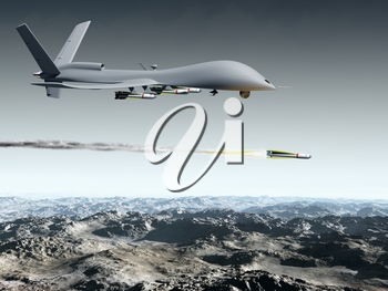 Royalty Free Clipart Image of an Aircraft Flying Over Mountains with a Missile