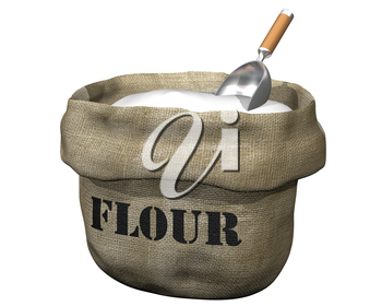 Royalty Free Clipart Image of a Bag Full of Flour