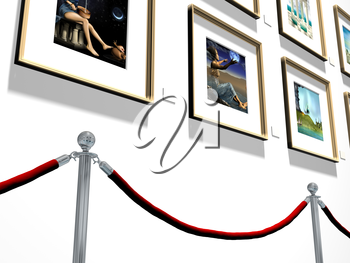Royalty Free Clipart Image of an Art Gallery