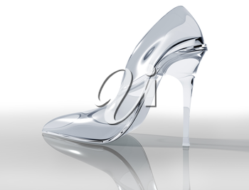 Royalty Free Clipart Image of a Glass Slipper