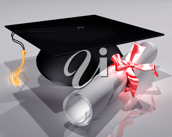 Royalty Free Clipart Image of a Graduation Hat with a Diploma